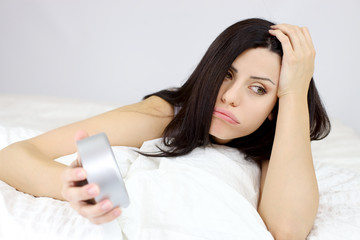 Woman upset about being late overslept