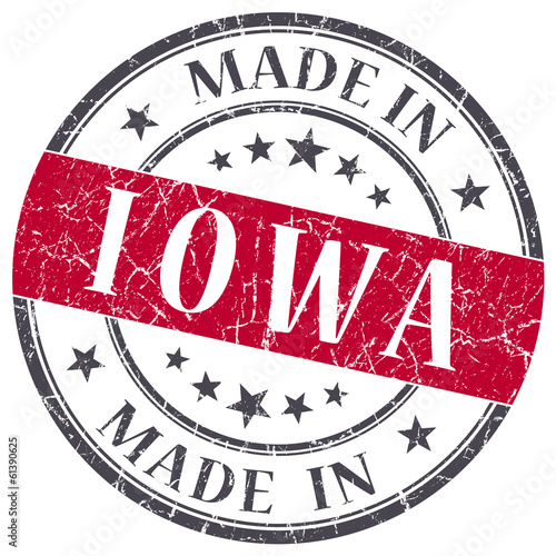 made in Iowa red round grunge isolated stamp