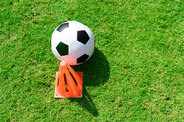 Soccer ball on soccer field.