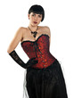 attractive woman in corset posing