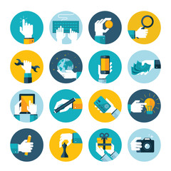 Modern flat icons vector collection of hand using items