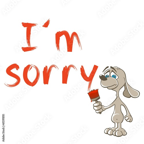 Sorry - Sad dog - Apologize ,Painting,Writting