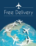 Free delivery transport concept, airplanes on earth