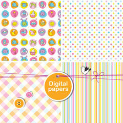 Baby shower seamless pattern - vector digital paper