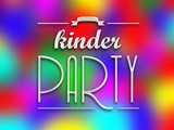 Kinder party invitation poster, colorful backround