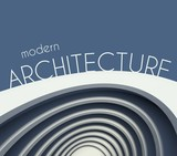 Modern architecture poster with futuristic building
