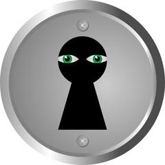 green eyes spy through keyhole