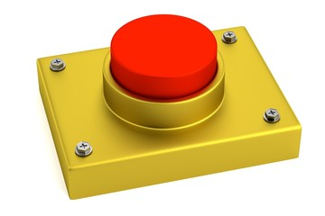 realistic 3d render of red button