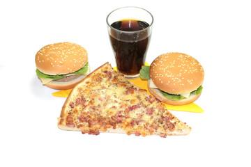 burger, pizza, coca