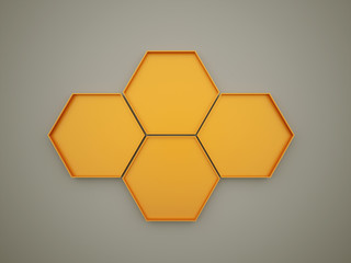 Orange hexagonal cell background