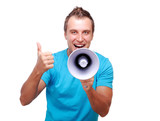 man shouting loud into the megaphone