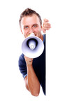 man with megaphone and blank