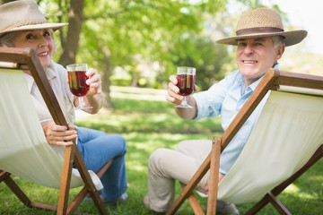 Relaxed mature couple with wine glasses at park