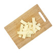 Wide old fashioned egg noodles on cutting board