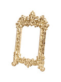 Gold vintage picture frame isolated clipping path.