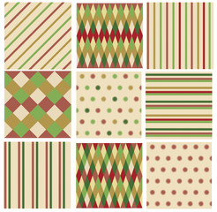 Vector set geometry, striped, polka dots  seamless patterns.