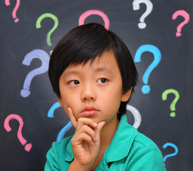 Curious schoolboy full of questions