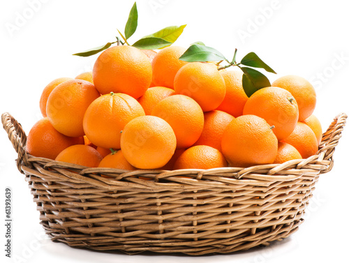 canvas print picture Oranges in a basket