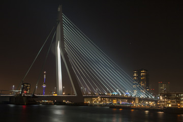 Erasmusbridge by night in Rotterdam.