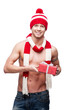 sexy macho holding red gift