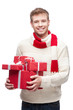 attractive young man holding red gift