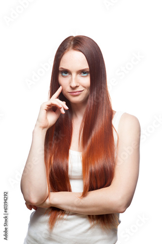 smirking red haired girl