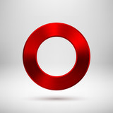 Red Abstract Circle Button with Metal Texture