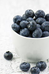 Bowl of blueberries, closeup