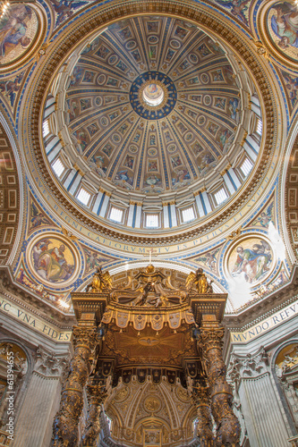 Rome - Baldachin by Bernini  and cupola in Basilica di San Pietr