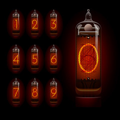 Nixie tube with digits