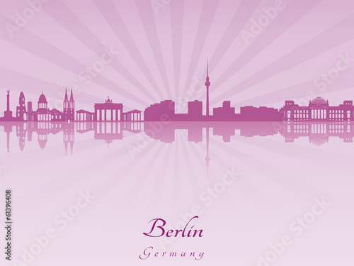 Berlin skyline in purple radiant orchid