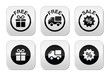 Free gift, free delivery, sale icons set