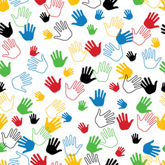 Hand in seamless pattern or background.Olympic colors