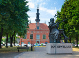 Gdansk modern city square with Monument of Jan Heweliusz
