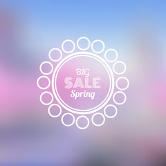 Big Spring Sale Vector Retro Badge with Blurred Background