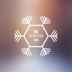 Big Winter Sale Vector Retro Badge with Blurred Background