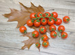 cherry tomatoes on autumn leaves on a wooden table.