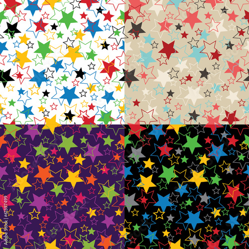 Stars of five colors. Seamless pattern or background.Vector.