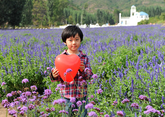Smiling Chinese boy holding a red heart