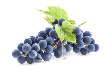 Ripe grapes with leaves isolated on white background