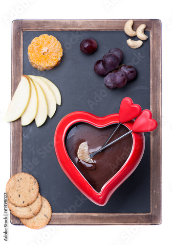 chocolate fondue and chalk board