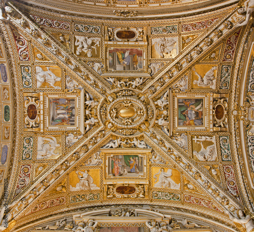 Bergamo - Ceiling of side nave from cathedral