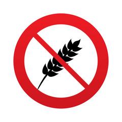 No Gluten free sign icon. No gluten symbol.