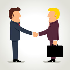 Simple cartoon of businessmen shaking hands
