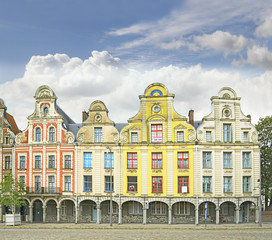 Arras France Flemish style buildings, main square of Grand Place