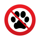 No Dog paw sign icon. Pets symbol.