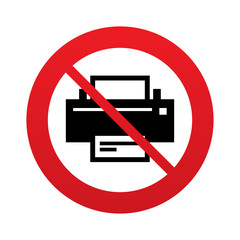 No Print sign icon. Printing symbol.