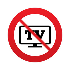 No Widescreen TV sign icon. Television set symbol.