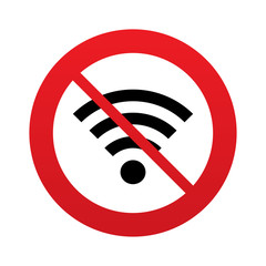 No Wifi sign. Wi-fi symbol. Wireless Network.