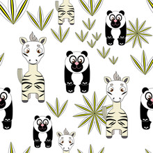 cute seamless background with panda and zebra